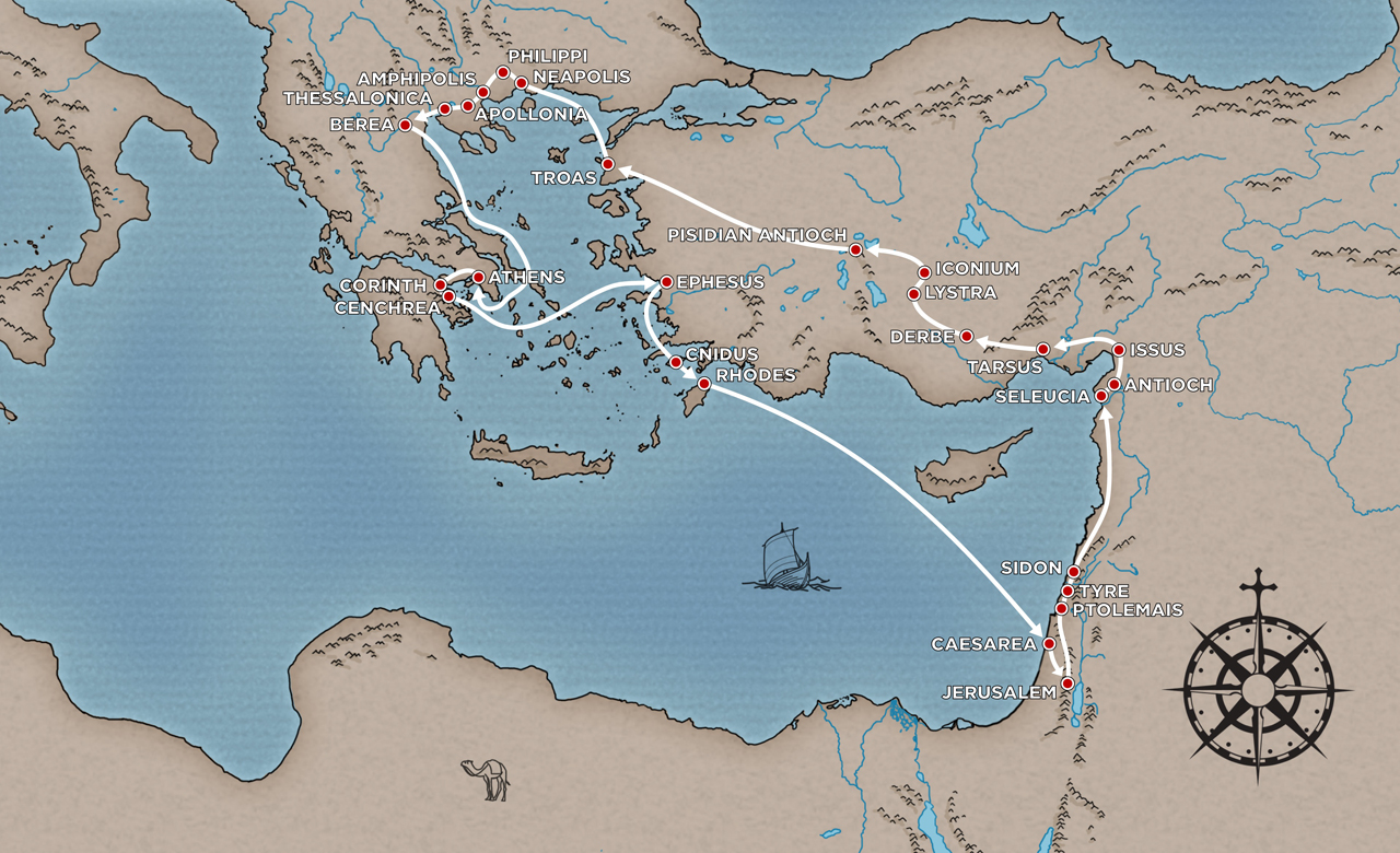 second missionary journey of paul This map with captions will guide you through the apostle paul's first and second missionary journeys as they  25 to 3 years on his second missionary journey,.